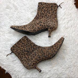Stuart Weitzman Leopard Print Suede Ankle Boots